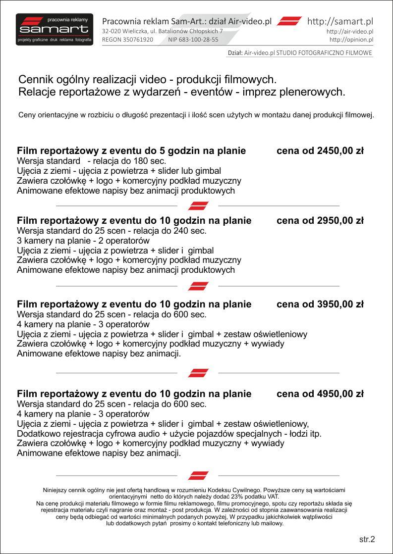 Produkcja filmów reklamowych cennik strona 2