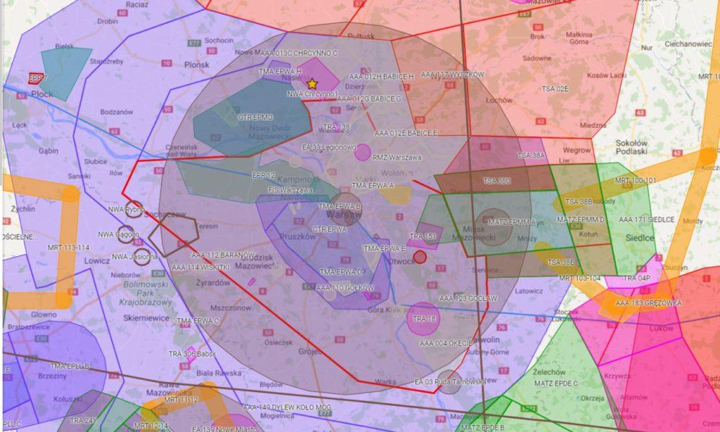 Mapka orientacyjna prezentująca zasięg strefy EA 200